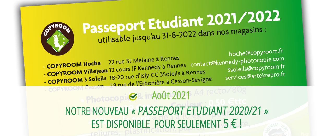 Notre nouveau « Passeport Etudiant » est disponible depuis pour seulement 5 € !